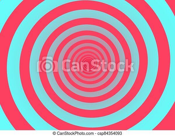 Red spiral background. Swirl, circular shape on turquoise background. - csp84354093