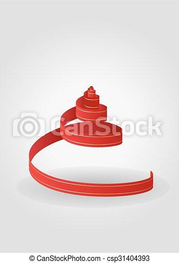 red spiral ribbon - csp31404393