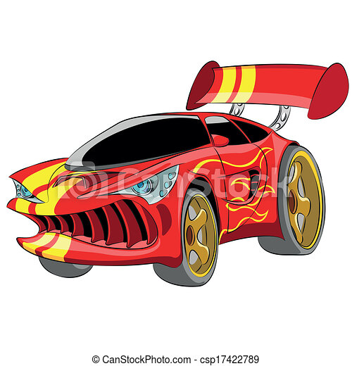 Red Sport Car Cartoon Red Sport Car Isolated On White Background