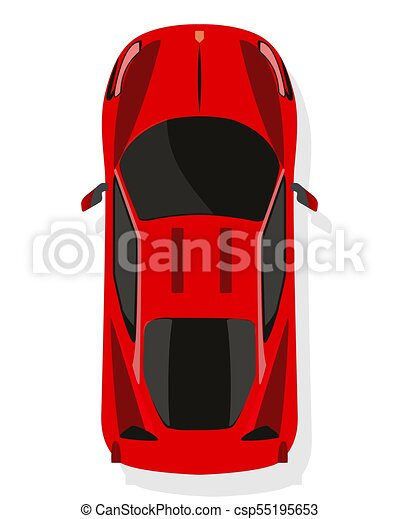 Red Sport Car Top View In Flat Style Isolated On A White Background