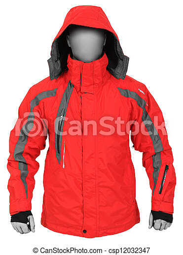 Red sport jacket with hood isolated on white background - csp12032347