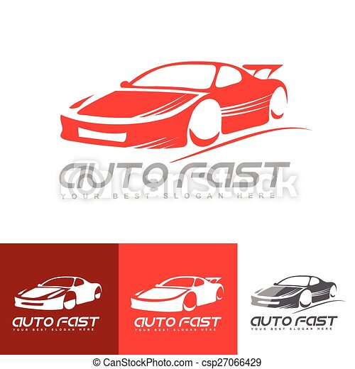 red sports car logo vector logo template of stylized red sports car