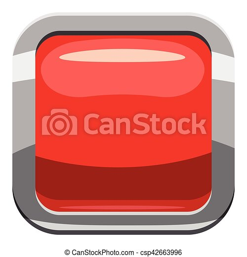 Red square button icon, cartoon style - csp42663996