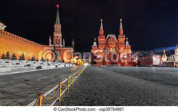Red square by night in Moscow with views of the Historic Museum - csp38764861