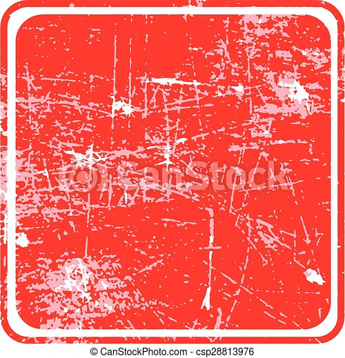 red square grunge stamp with blank siolated on white background. - csp28813976