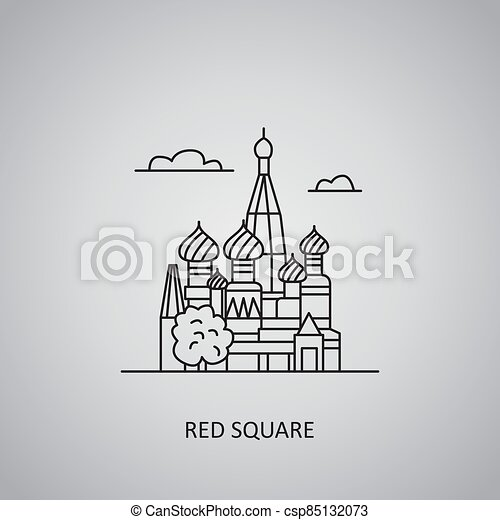 Red Square icon on grey background. Russia, Moscow. Line icon - csp85132073