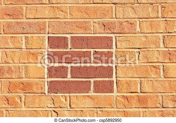 Red Square in Orange Brick Wall - csp5892950