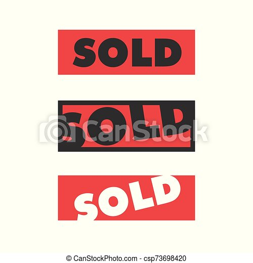 red square sold sign sold sticker isolated on white - csp73698420