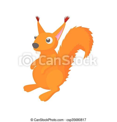 Red squirrel icon, cartoon style - csp35680817