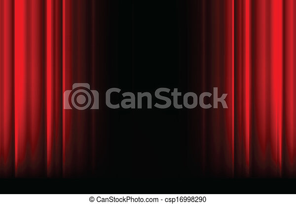 Red stage curtain with light, shadow and black space - csp16998290