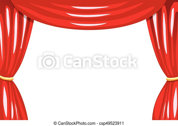red stage curtains isolated rh canstockphoto com Theater Stage Curtains Stage Curtain Border