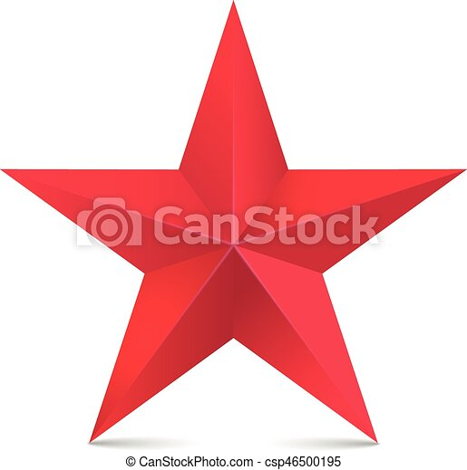 Red star 3d vector isolated on white - csp46500195