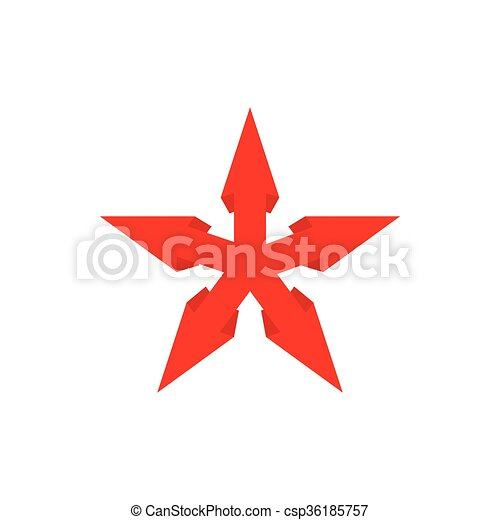 Red star icon, cartoon style - csp36185757