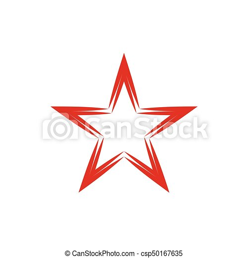Red Star Symbol Award Badge Or Christmas Symbol