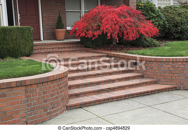 Red Steps Red Brick Steps Leading To A Homes Front Door