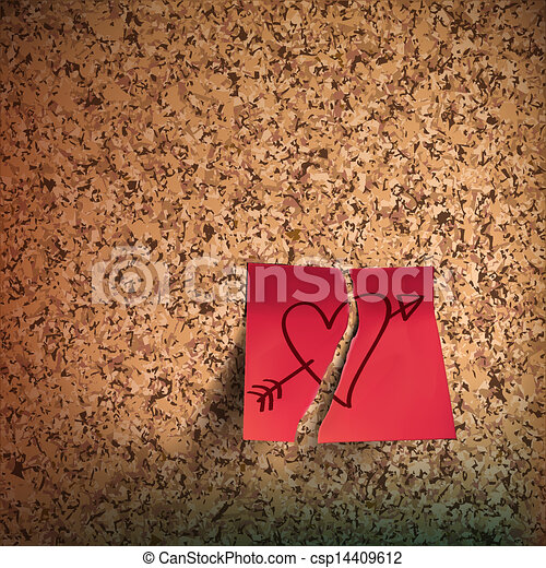Red sticky note with heart sketched on cork board - csp14409612