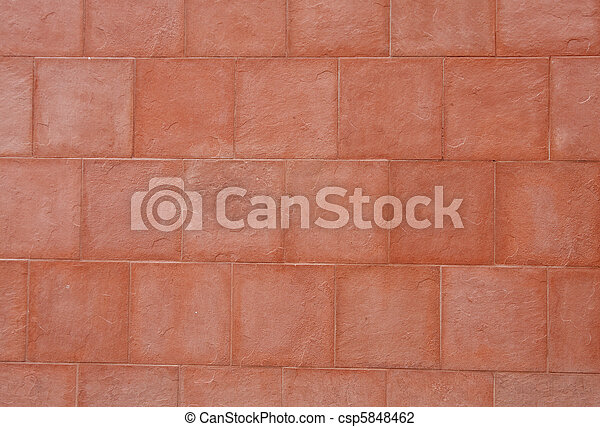 Red Stone Block Wall - csp5848462