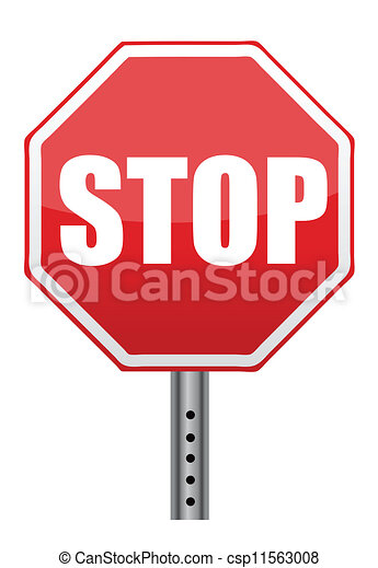 red stop road sign illustration - csp11563008