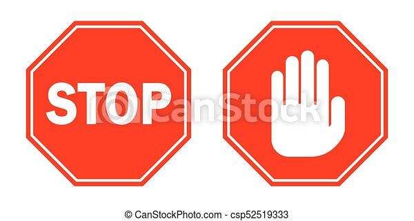 red stop signs vector illustration stop signs in flat design rh canstockphoto com stop sign graphic design stop sign graphics morrisville