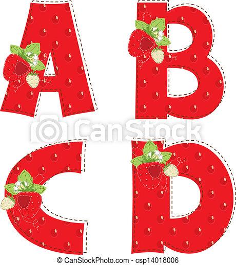 red strawberry alphabet. Letter A, B, C, D - csp14018006