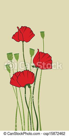 red stylized poppy - csp15872462