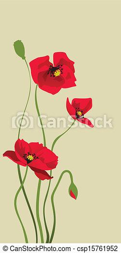 red stylized poppy - csp15761952
