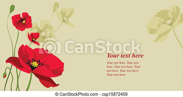 red stylized poppy - csp15872459