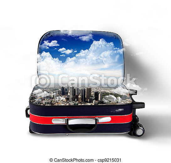 Red suitcase with city inside - csp9215031