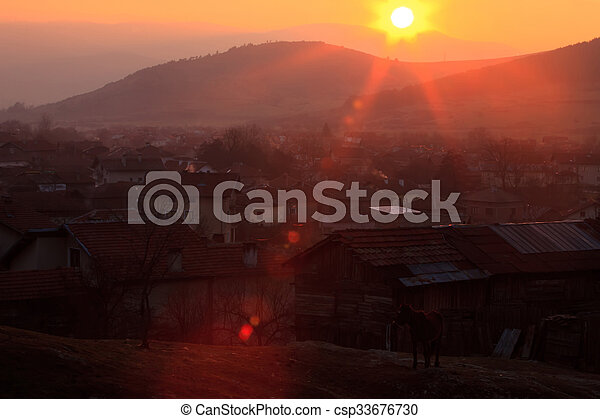 red sunset over the hills - csp33676730