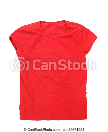 Red t-shirt isolated on a white background - csp52671924