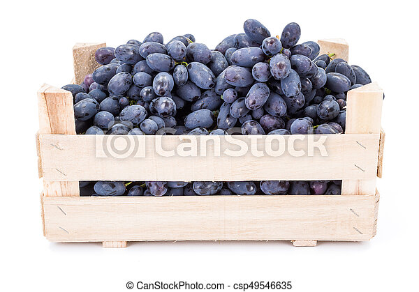 Red table grapes (Vitis) in wooden crate - csp49546635