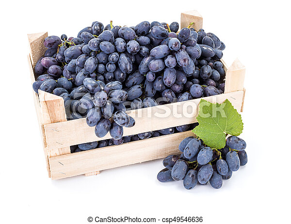 Red table grapes (Vitis) in wooden crate - csp49546636