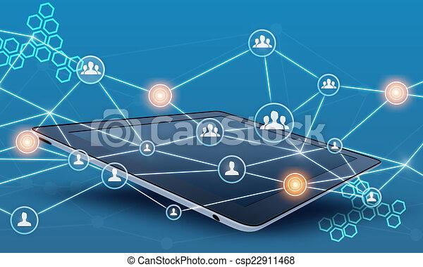 Tablet y la red de trabajo en equipo conectan línea. - csp22911468