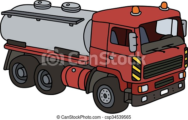 hand drawing of a red tank truck - not a real model clip art vector