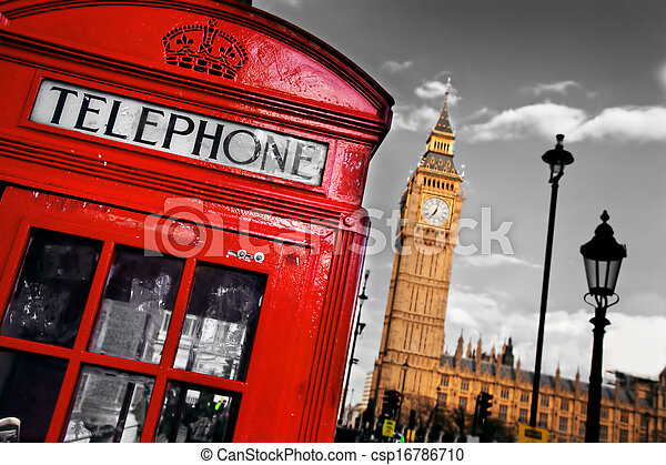 Red telephone booth and Big Ben in London, England, the UK - csp16786710