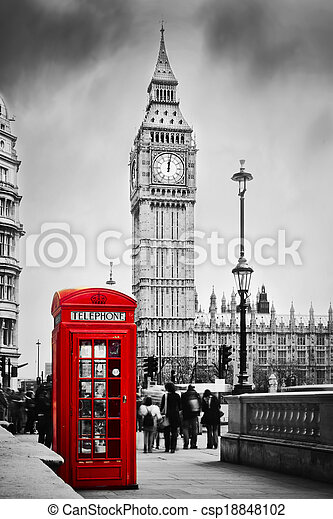 Red telephone booth and Big Ben in London, England, the UK. - csp18848102