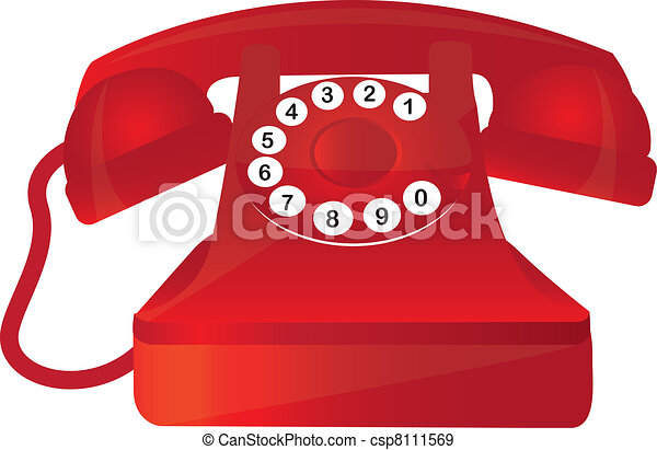 Red Telephone Old With Numbers Over White Eps