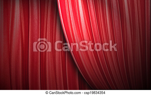red theater curtain - csp19834354