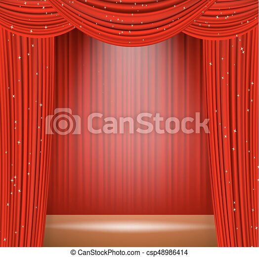 Red Theater Curtains And Spot Light On Stage Vector Illustration