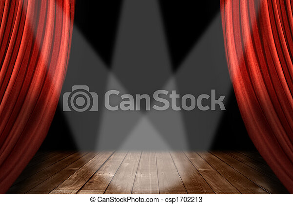 Red Theater Stage Background With 3 Spotlights Centered - csp1702213