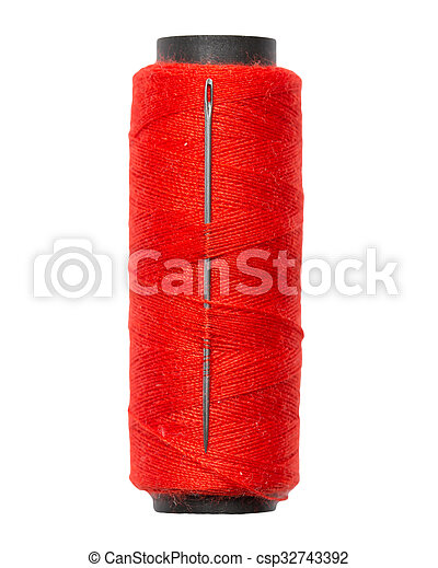 red thread with a needle on a white background. macro - csp32743392