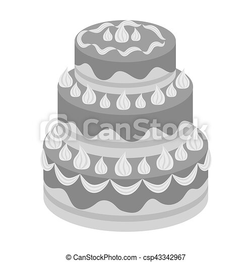 Red Three Ply Cake Icon In Monochrome Style Isolated On White