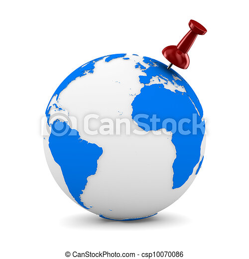 Red thumbtack on globe. Isolated 3D image - csp10070086