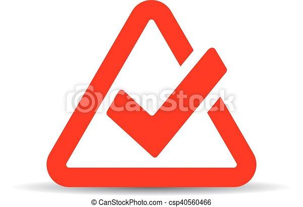 Red tick mark symbol - csp40560466