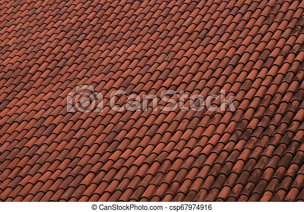 red tile roof texture background - csp67974916