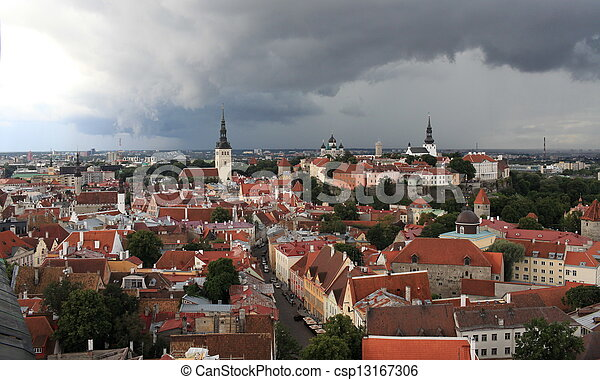 red tile roof top view - csp13167306