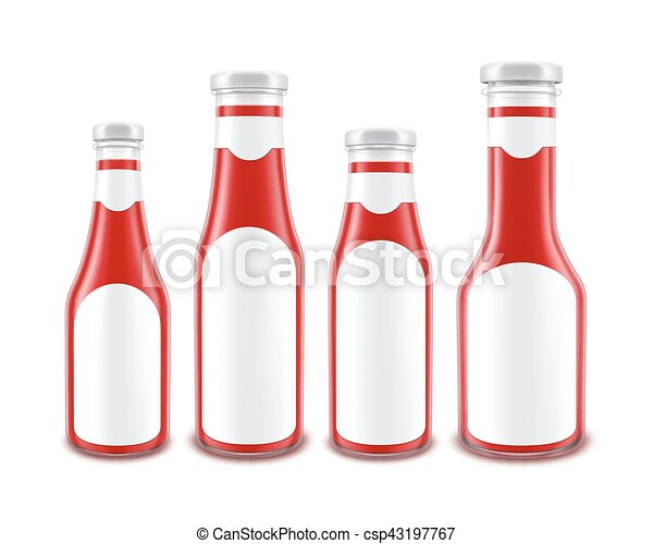 63041b52c81 Vector set of blank glass red tomato ketchup bottles of different ...