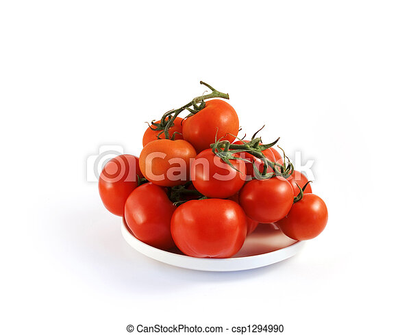 red tomato on a plate - csp1294990