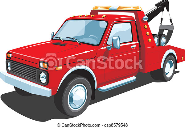 red tow truck vector isolated tow truck on white vector search rh canstockphoto com flatbed tow truck clipart rollback tow truck clipart