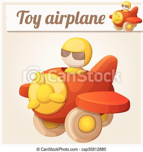 Red toy airplane. Cartoon vector illustration - csp35812880